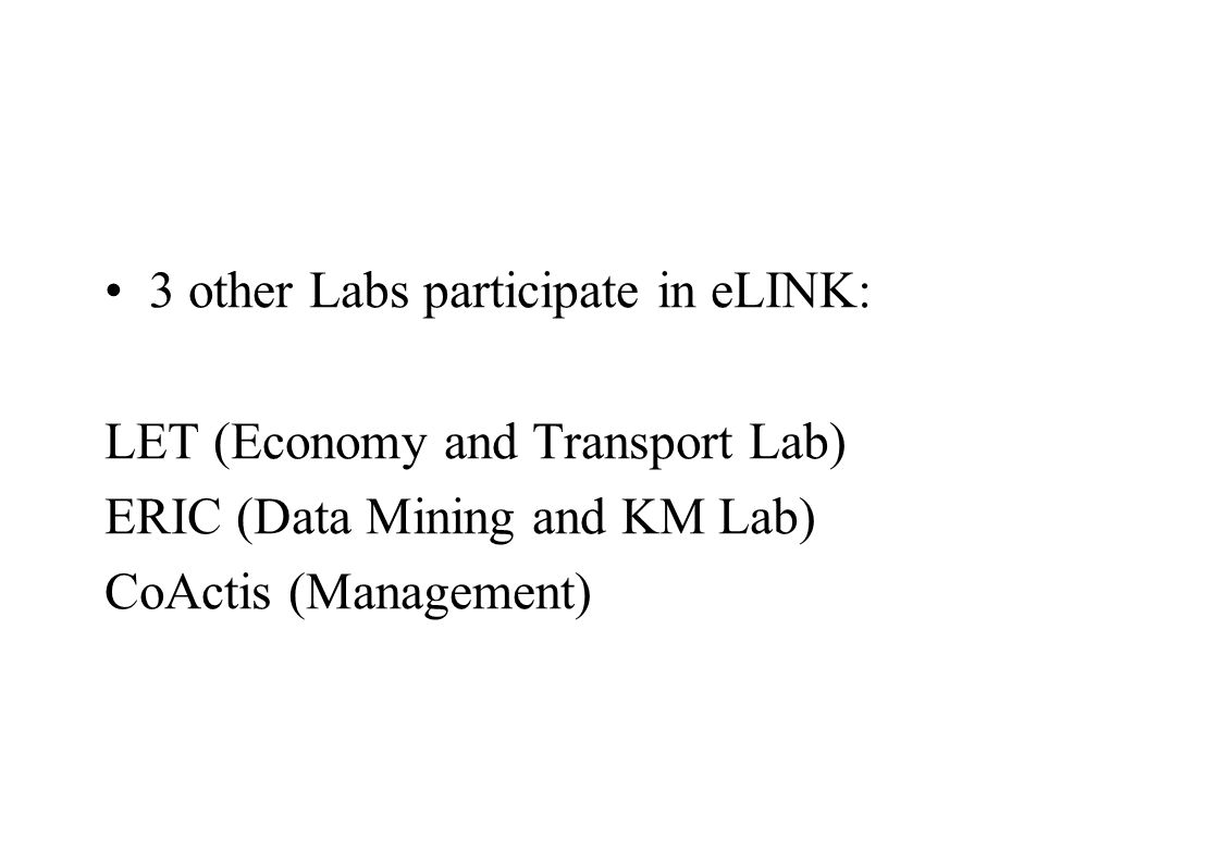 3 other Labs participate in eLINK: