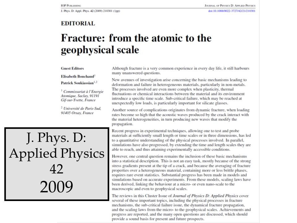 J. Phys. D: Applied Physics 42 2009