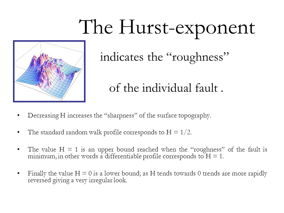 Τhe Hurst-exponent indicates the roughness of the individual fault .