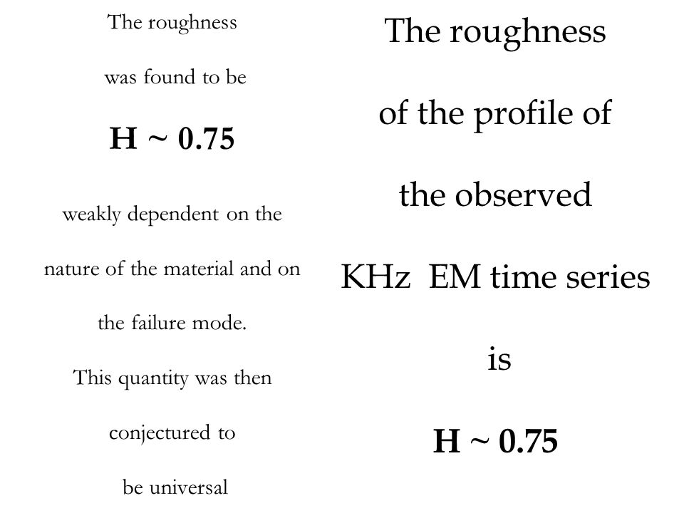The roughness of the profile of H ~ 0.75 the observed