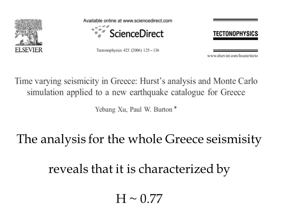 The analysis for the whole Greece seismisity