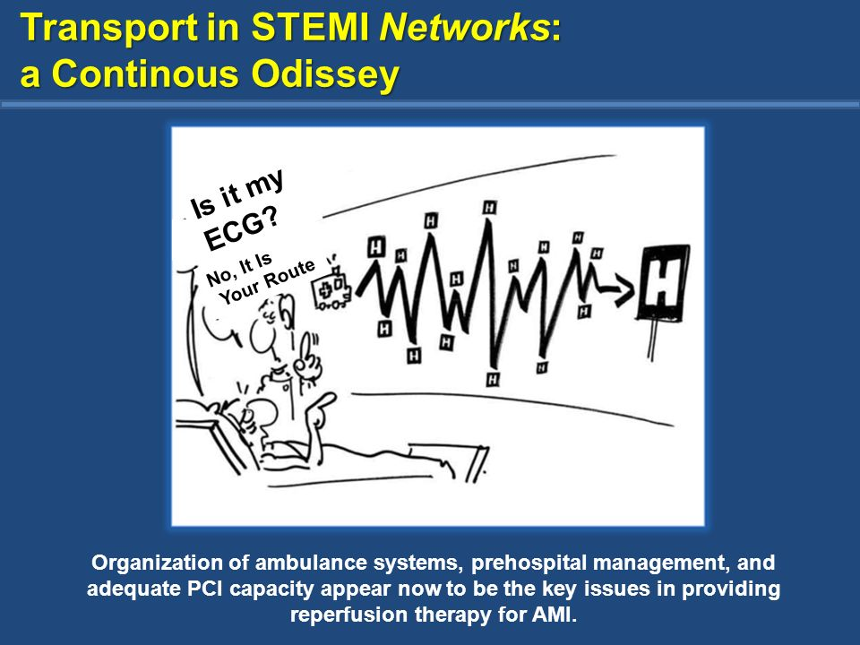 Transport in STEMI Networks: a Continous Odissey