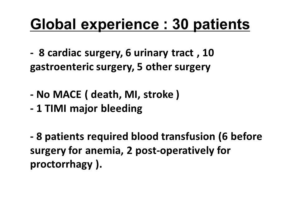 Global experience : 30 patients