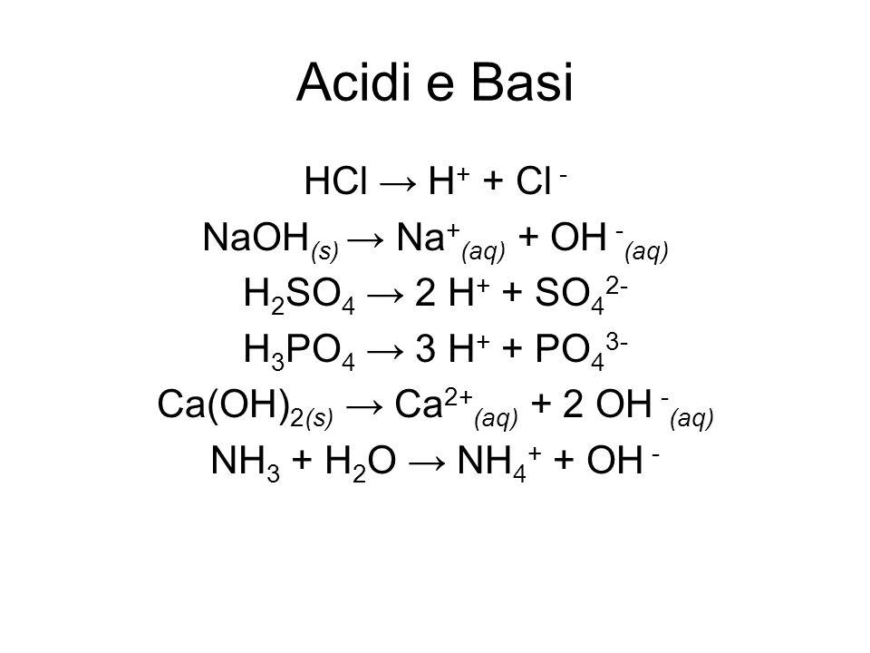 Acidi e Basi HCl → H+ + Cl - NaOH(s) → Na+(aq) + OH -(aq)