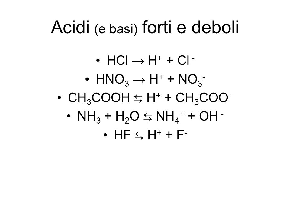 Acidi (e basi) forti e deboli