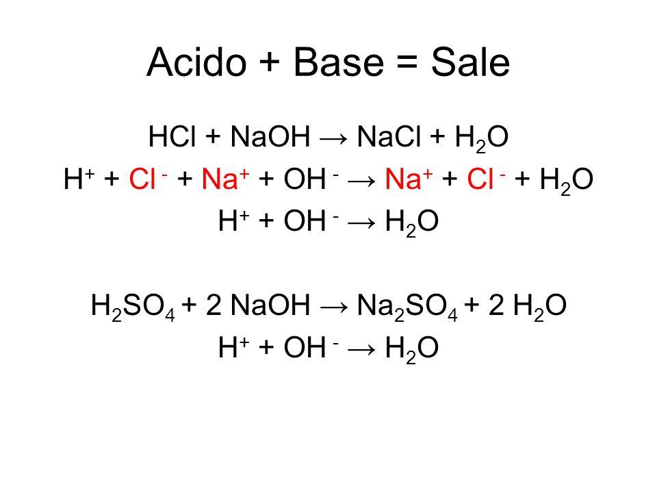 H+ + Cl - + Na+ + OH - → Na+ + Cl - + H2O