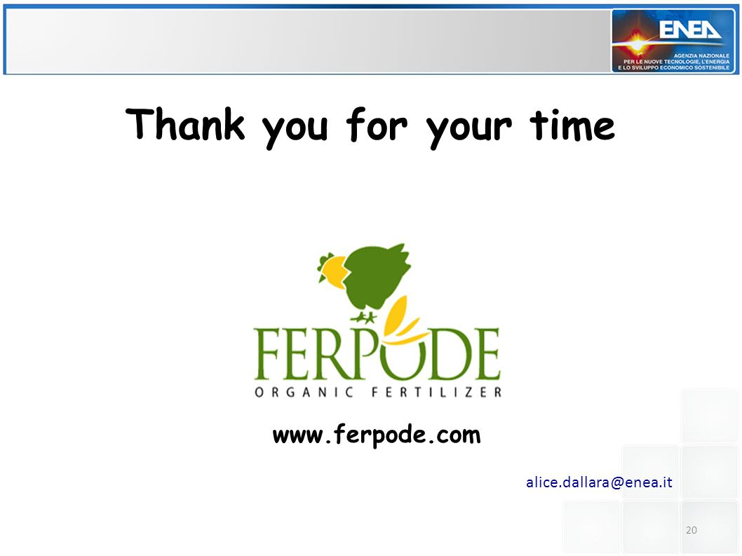 Thank you for your time www.ferpode.com alice.dallara@enea.it