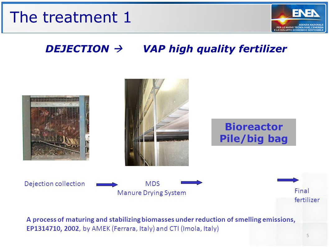 The treatment 1 DEJECTION  VAP high quality fertilizer Bioreactor