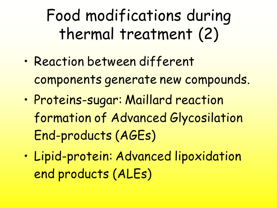 Food modifications during thermal treatment (2)