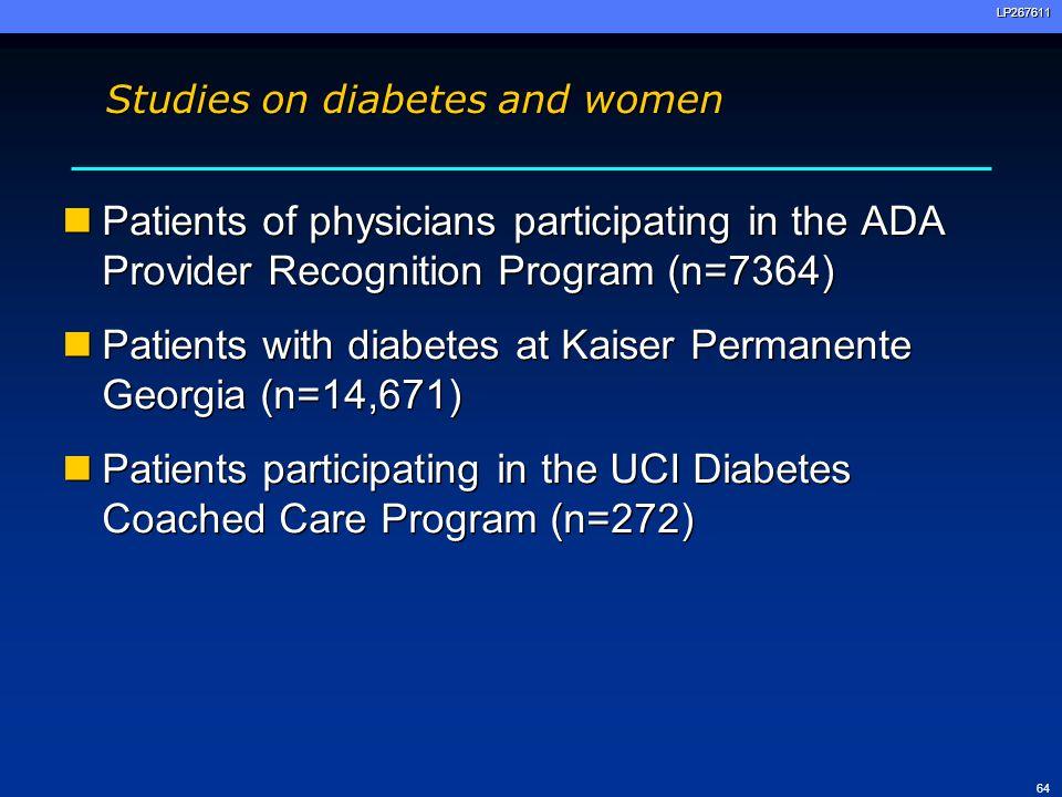 Studies on diabetes and women