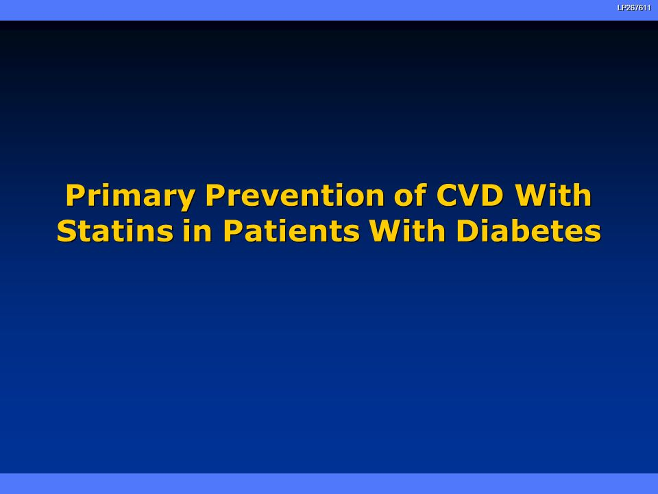 Primary Prevention of CVD With Statins in Patients With Diabetes