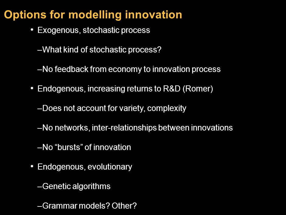 Options for modelling innovation