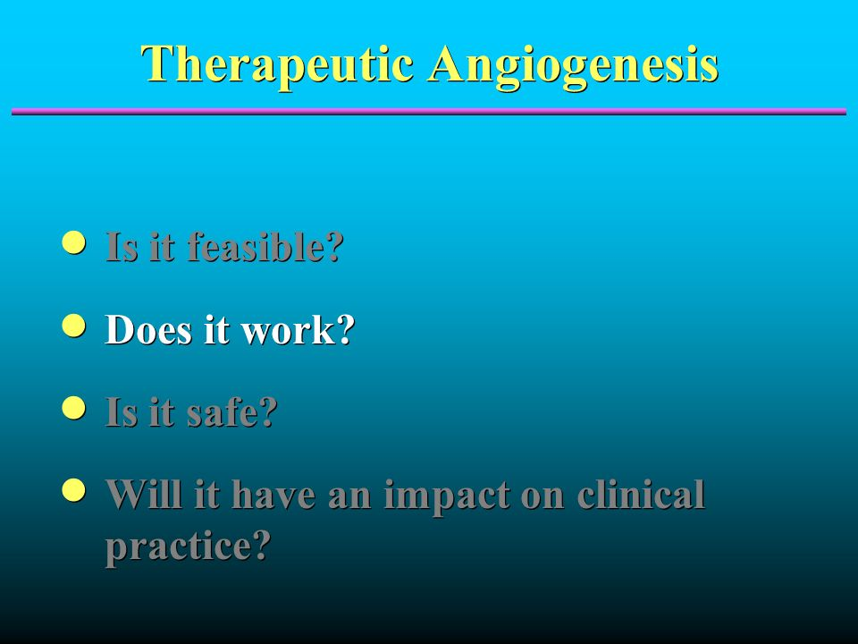 Therapeutic Angiogenesis