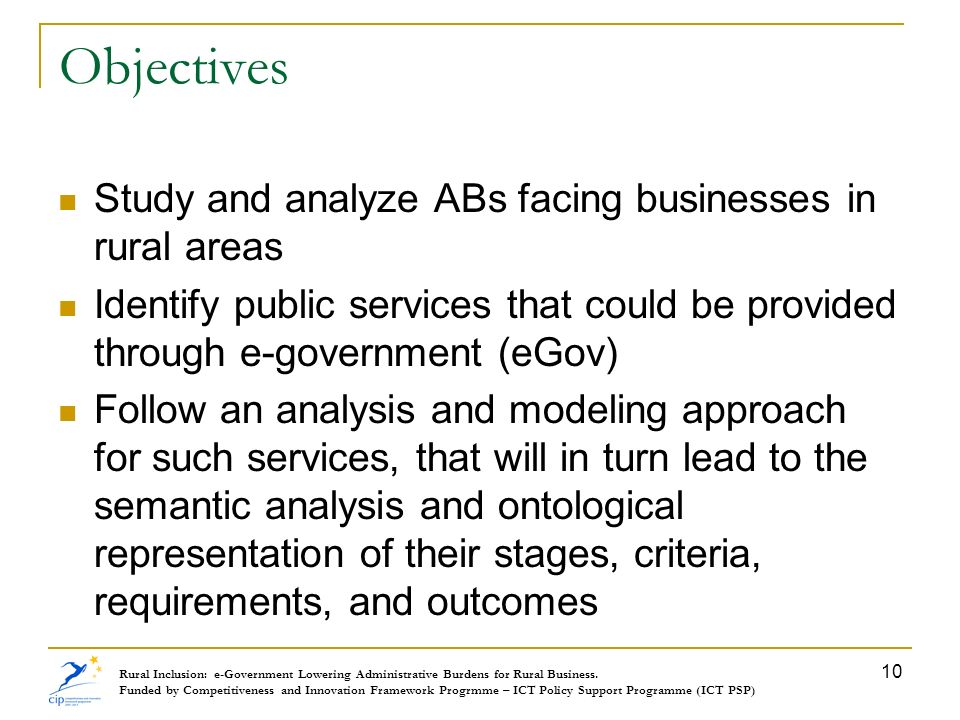 Objectives Study and analyze ABs facing businesses in rural areas