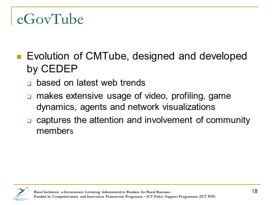 eGovTube Evolution of CMTube, designed and developed by CEDEP