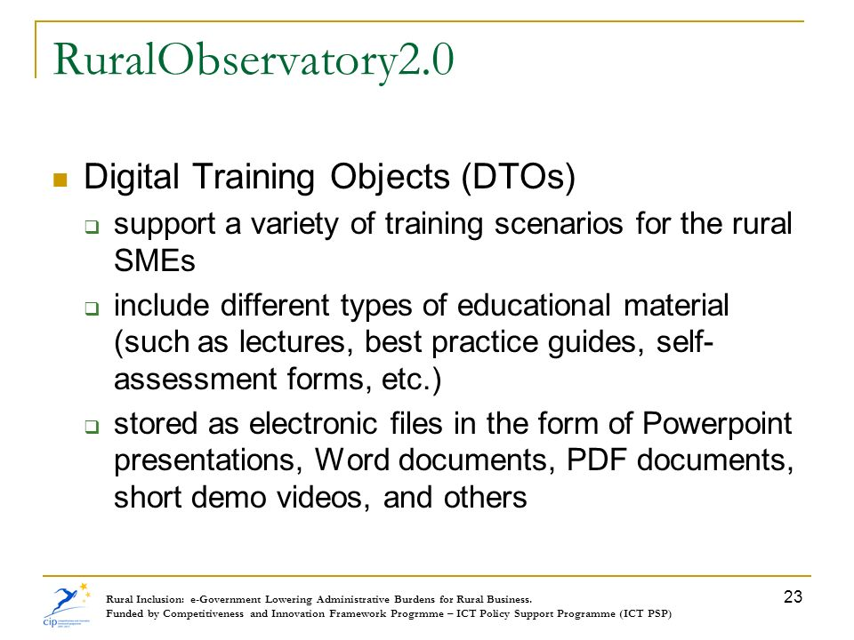 RuralObservatory2.0 Digital Training Objects (DTOs)