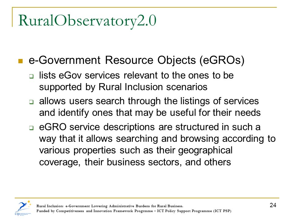 RuralObservatory2.0 e-Government Resource Objects (eGROs)