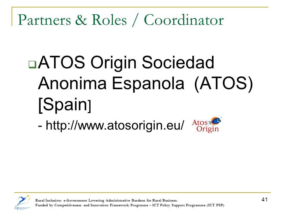 Partners & Roles / Coordinator