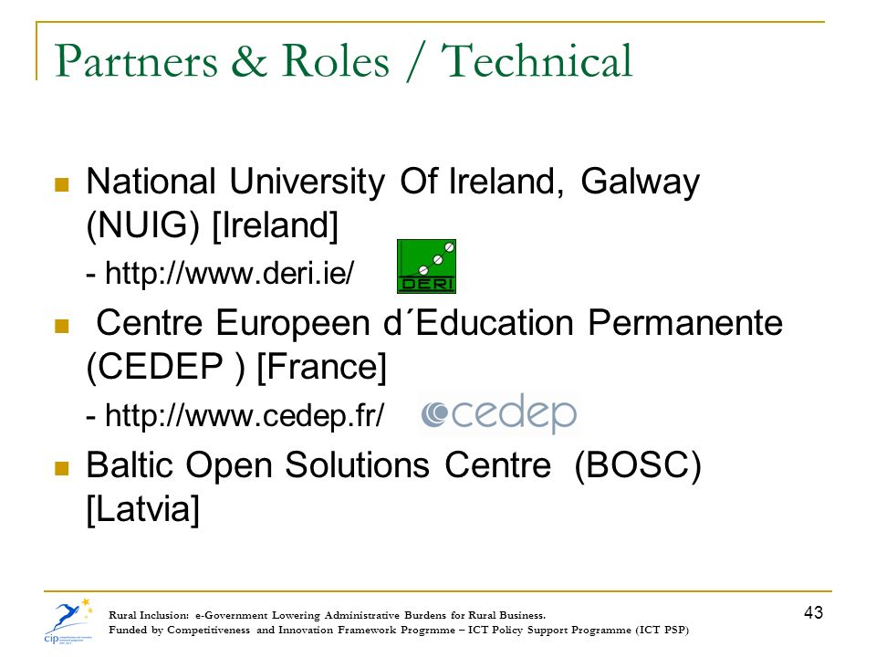 Partners & Roles / Technical