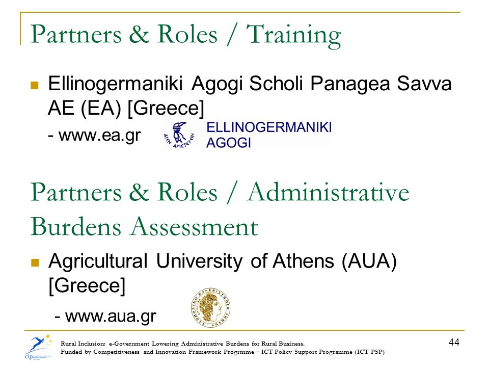 Partners & Roles / Training