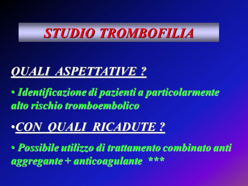 STUDIO TROMBOFILIA QUALI ASPETTATIVE CON QUALI RICADUTE