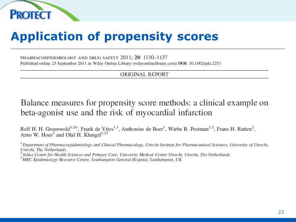 Application of propensity scores