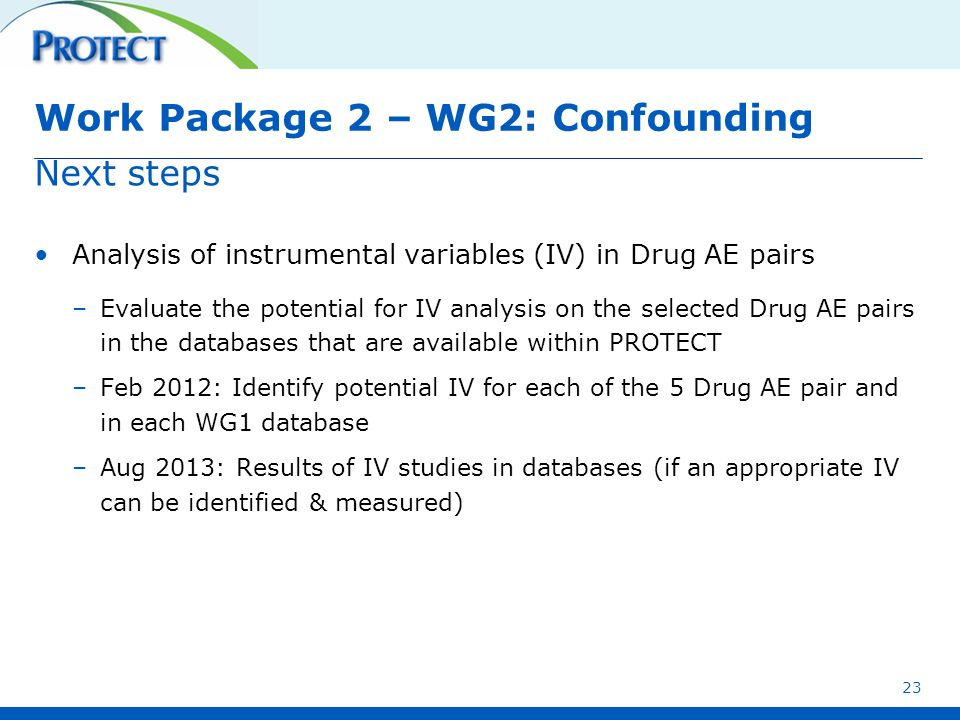 Work Package 2 – WG2: Confounding