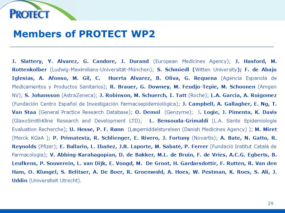 Members of PROTECT WP2