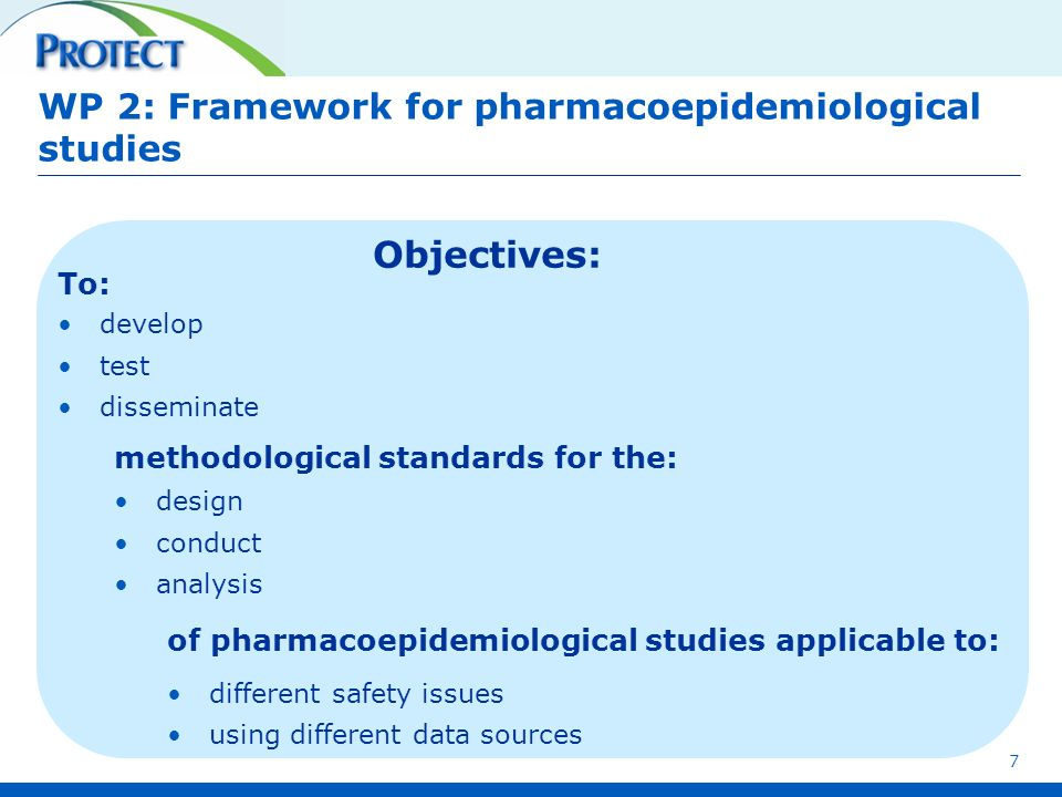 WP 2: Framework for pharmacoepidemiological studies