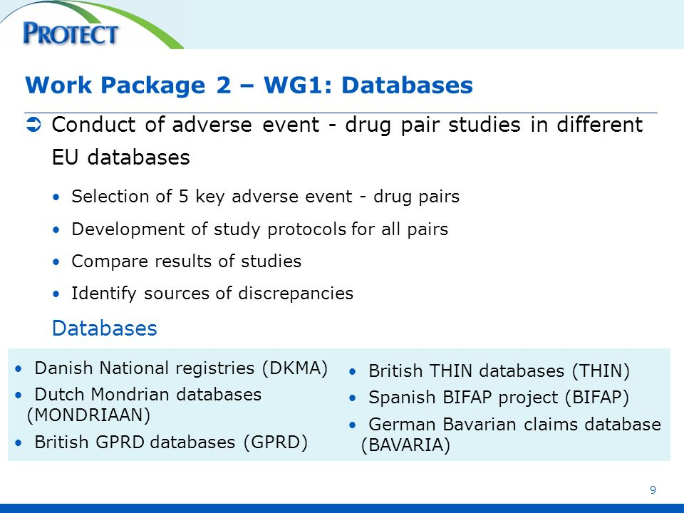 Work Package 2 – WG1: Databases