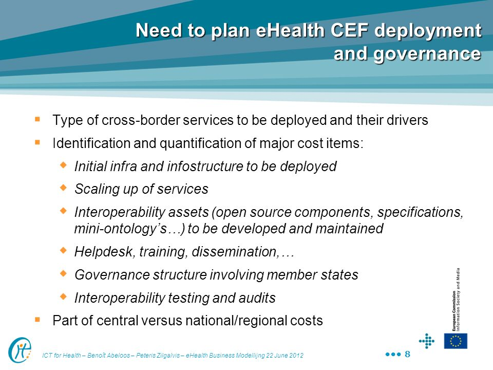 Need to plan eHealth CEF deployment and governance