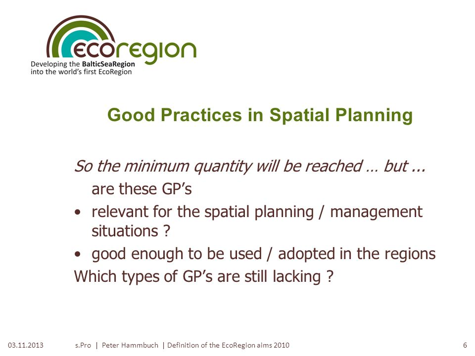 Good Practices in Spatial Planning