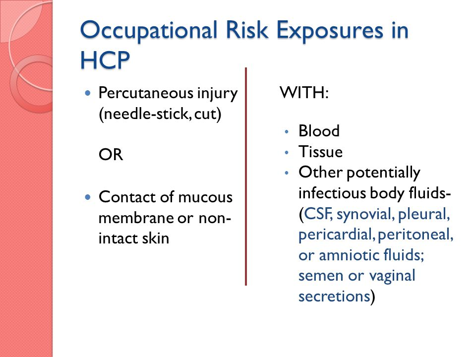 Occupational Risk Exposures in HCP