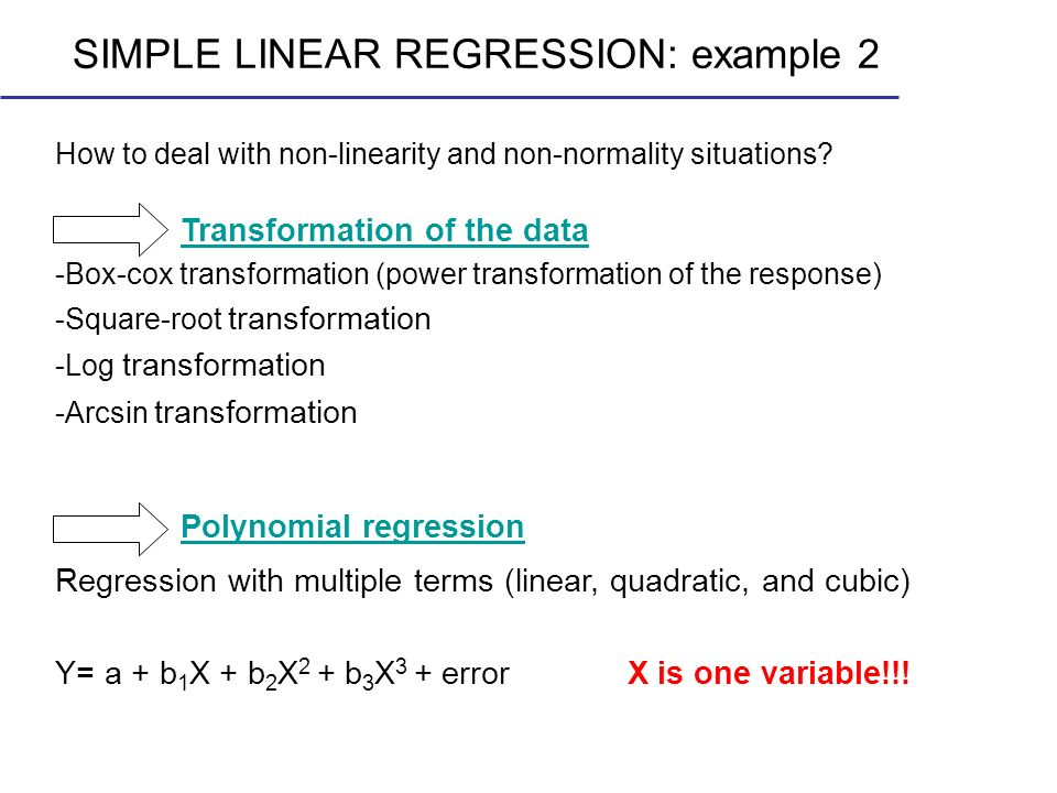 SIMPLE LINEAR REGRESSION: example 2