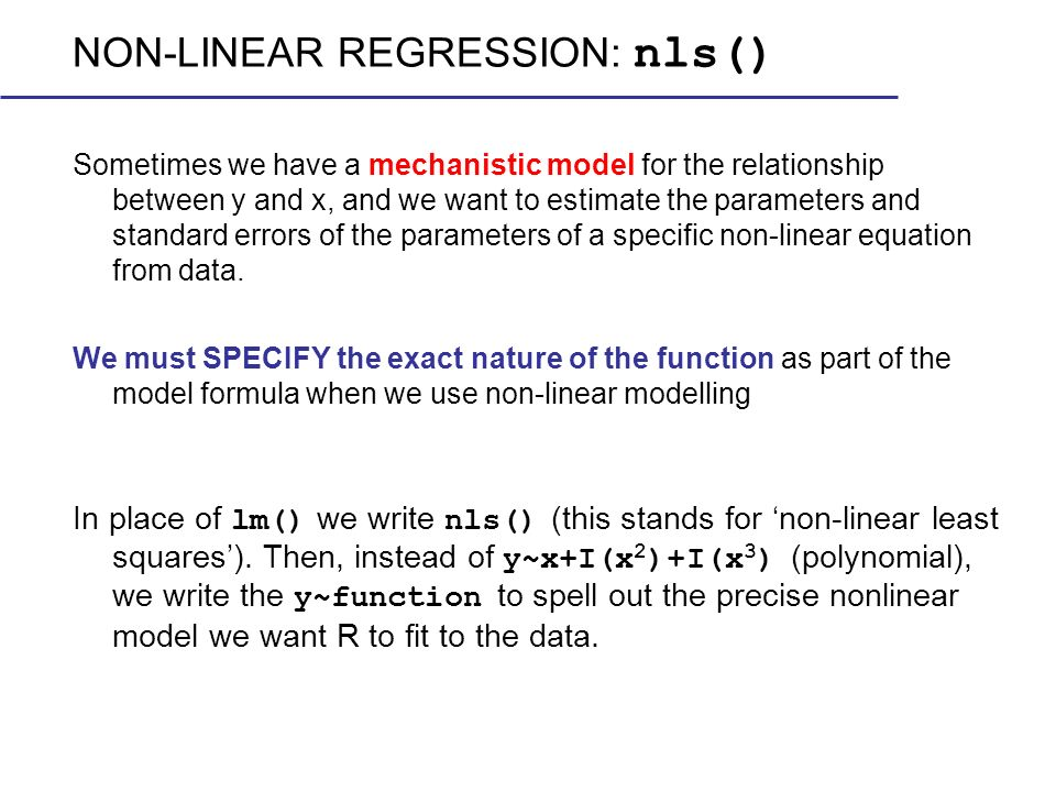 NON-LINEAR REGRESSION: nls()