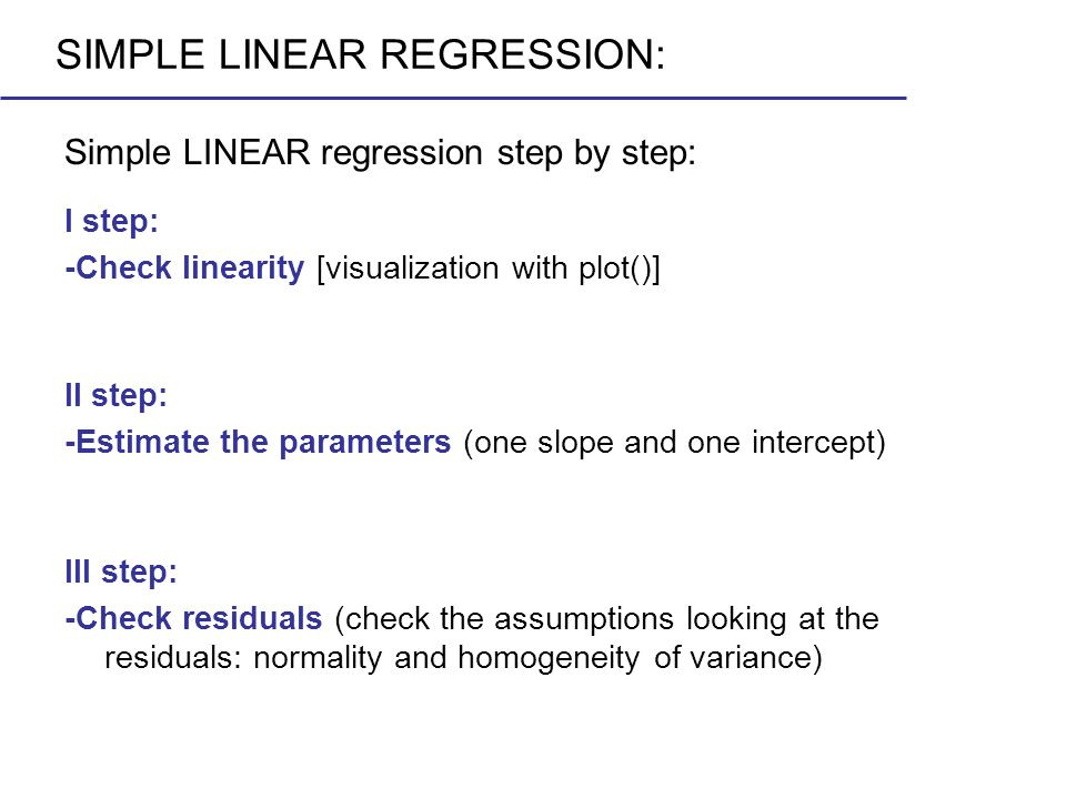 SIMPLE LINEAR REGRESSION: