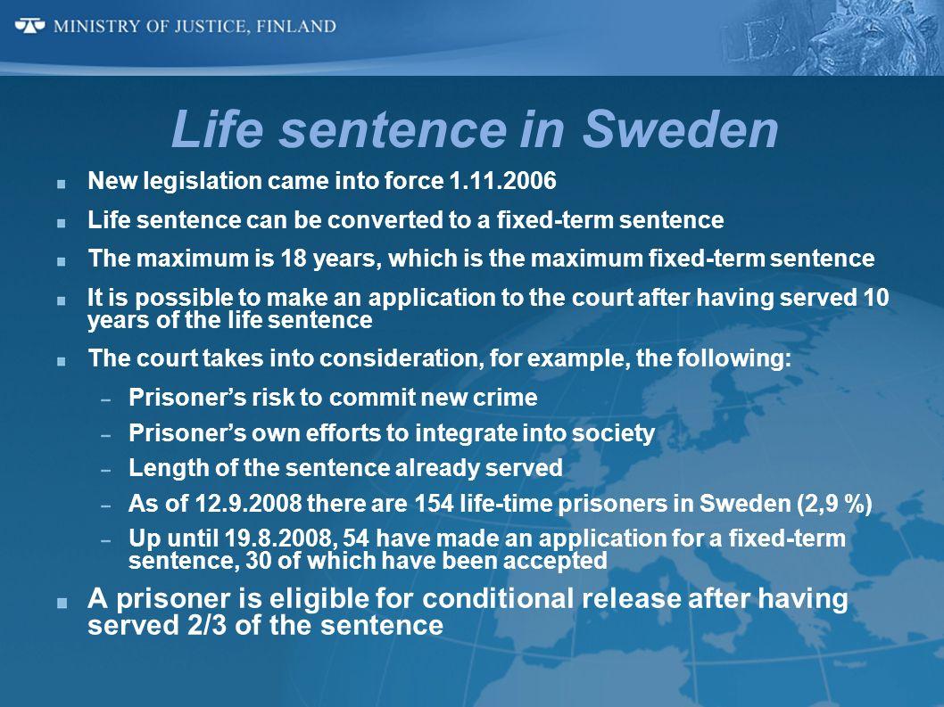 Life sentence in Sweden