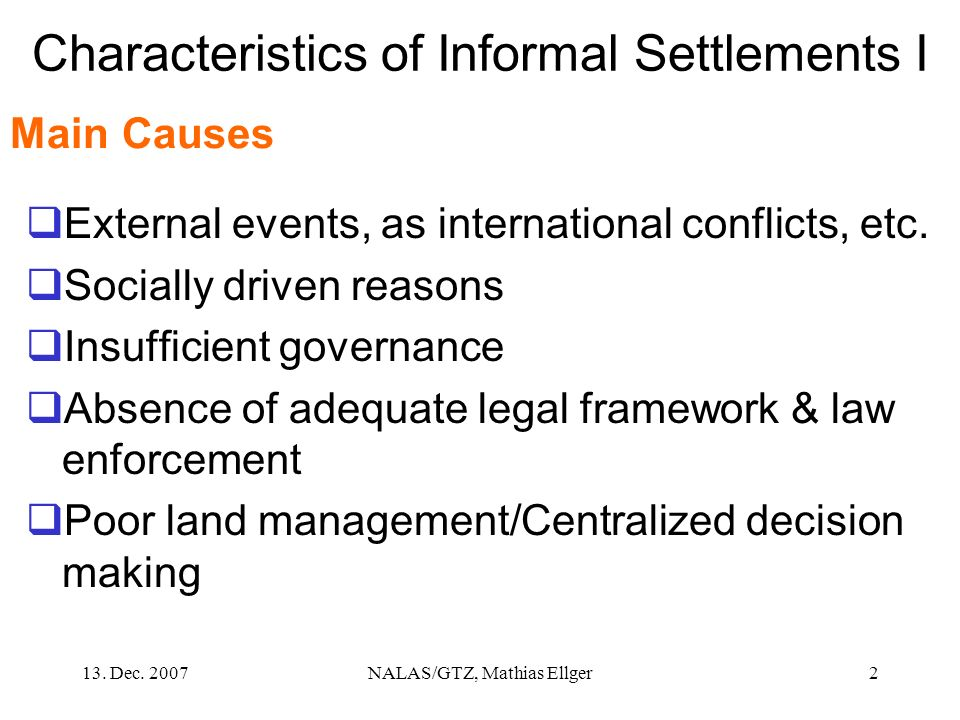 Characteristics of Informal Settlements I