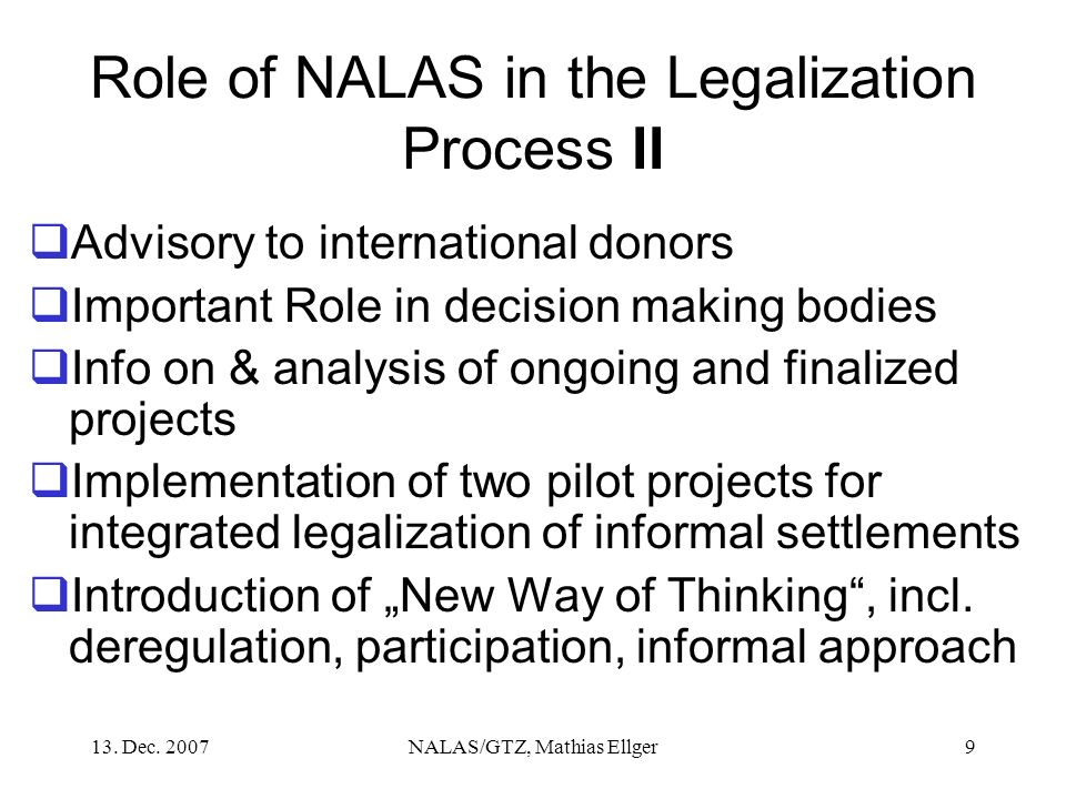 Role of NALAS in the Legalization Process II