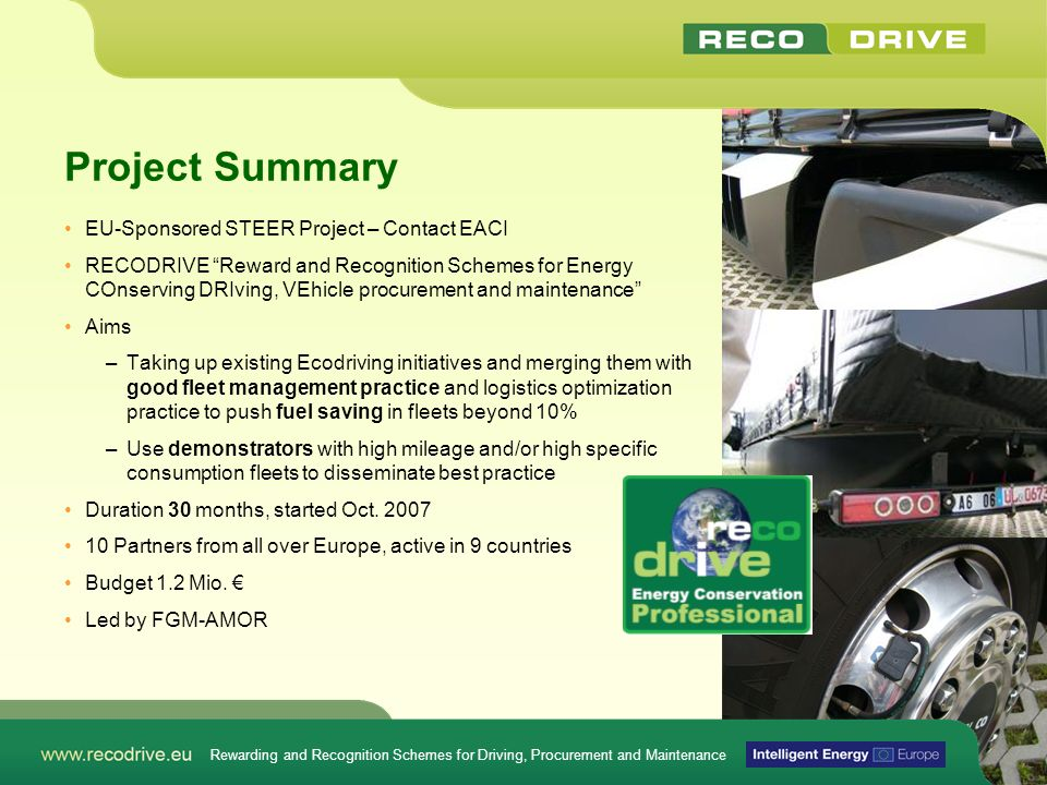 Project Summary EU-Sponsored STEER Project – Contact EACI