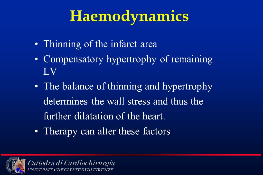 Haemodynamics Thinning of the infarct area