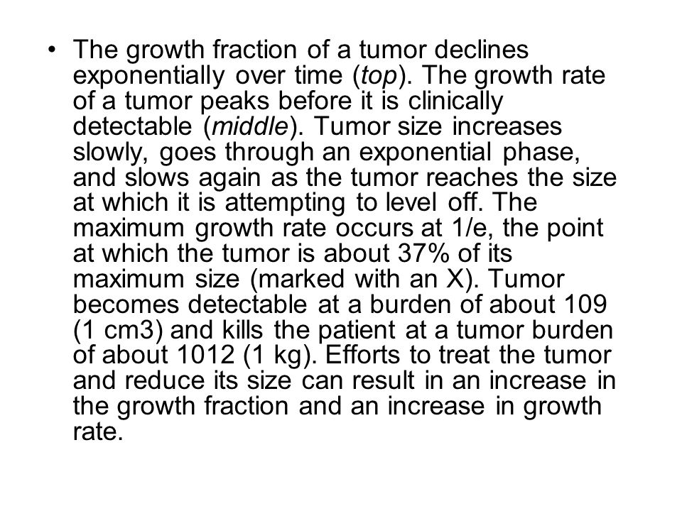 The growth fraction of a tumor declines exponentially over time (top)