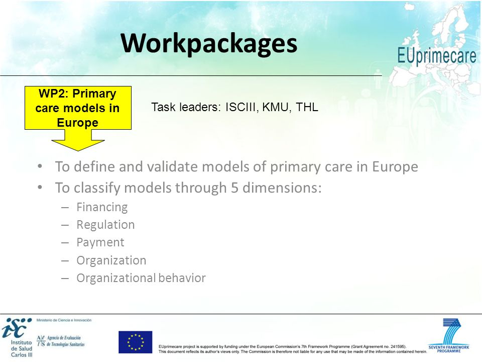 WP2: Primary care models in Europe