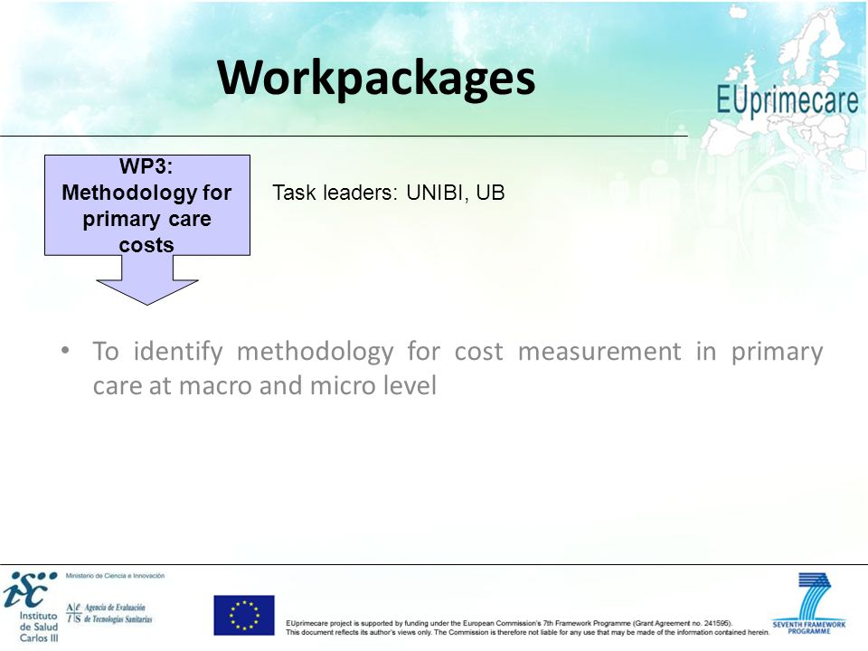 WP3: Methodology for primary care costs
