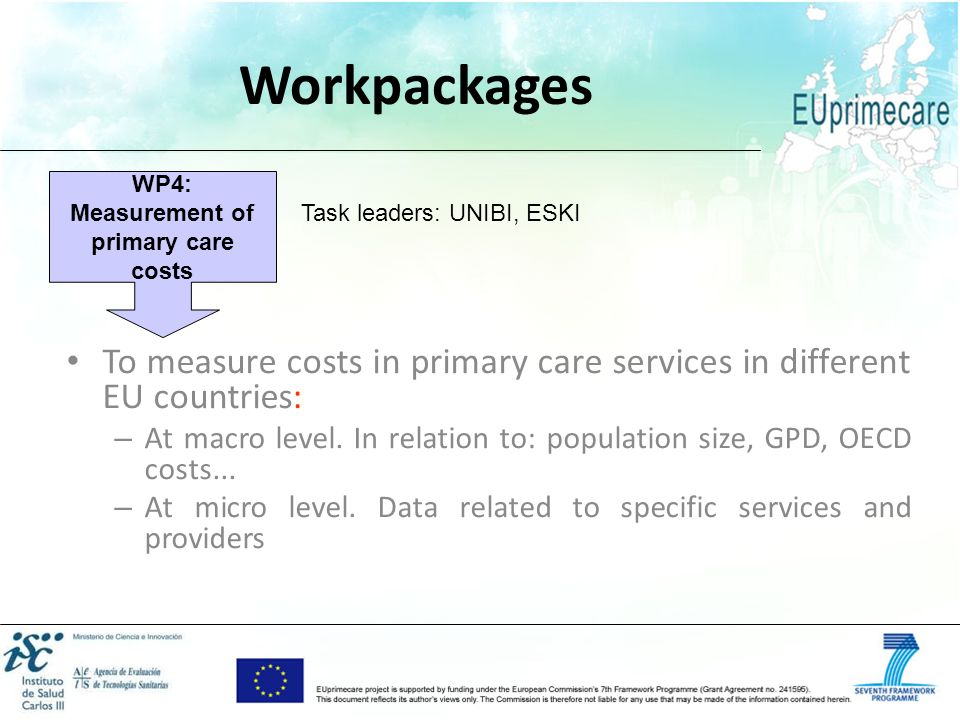 WP4: Measurement of primary care costs