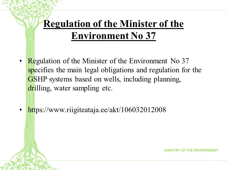 Regulation of the Minister of the Environment No 37