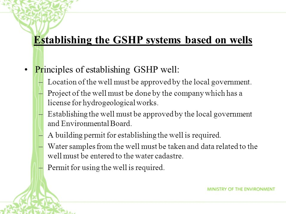 Establishing the GSHP systems based on wells