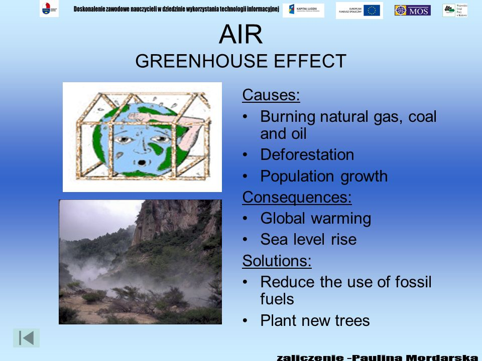 AIR GREENHOUSE EFFECT Causes: Burning natural gas, coal and oil