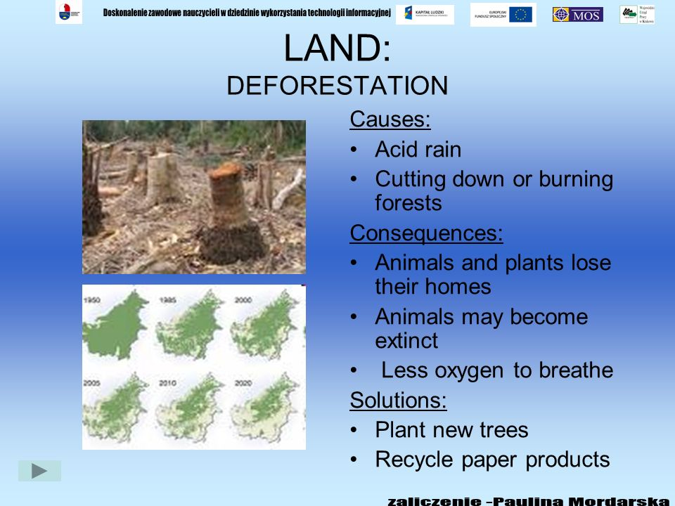 LAND: DEFORESTATION Causes: Acid rain Cutting down or burning forests