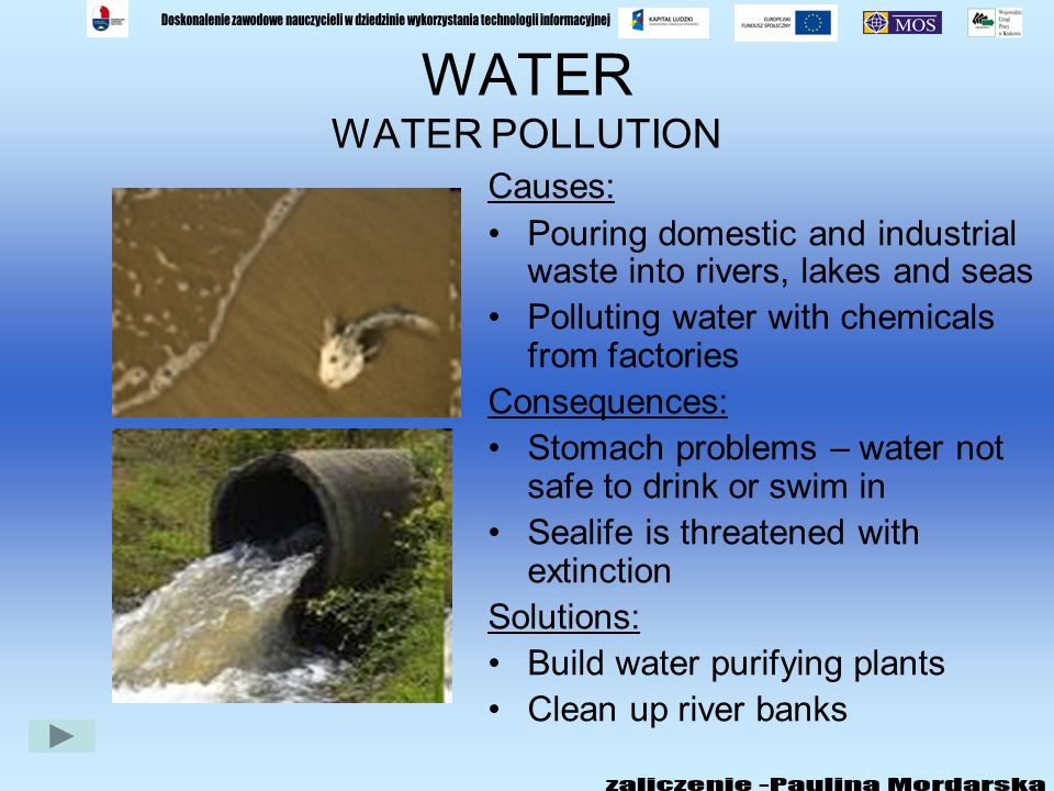 WATER WATER POLLUTION Causes: